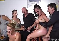 Brunette slave whipped in public