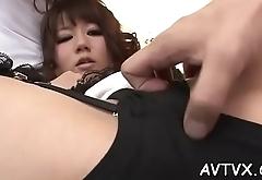 Hawt oriental darling enjoys blissful fingering and cunnilingus