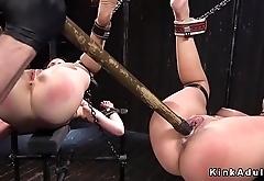 Master fucks two slaves in device bondage