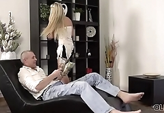 OLD4K. Sexy young lady in mini