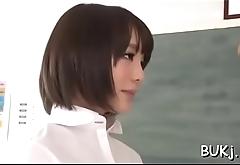 Slim japanese playgirl plays obedient in coarse bukkake scenes