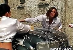 Lesbo messy porn video in non-professional outdoor scenes