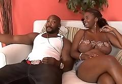 Big booty ebony moans while she gets banged by black stud