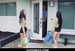 Teen Girls Maya Bijou And Crystal Rae Fuck Lucky Guy Getting Money For Car Wash Fundraiser