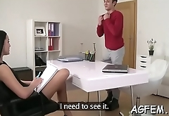 Horny female agent lastly receives a hard knob for wild fuck