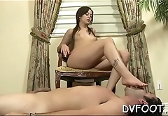 Sexy interracial foot fetish with carnal foot licking