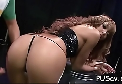 Dude licks tight pussy and thrust his strapon deep, cum shot