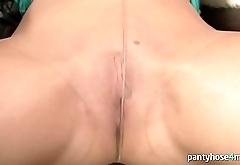 Chick Tears Up Pantyhose and Masturbates