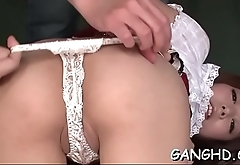 Oriental chick gets her hot tits sucked by lascivious hunks