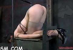 Shackled up gals get their pussy drilled by torturer