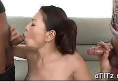 Asian hottie with biggest hooters enjoys raucous fucking