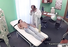 Muscular old doctor bangs brunette babe