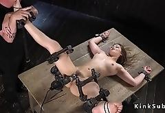 Slave in device bondage cunt vibed