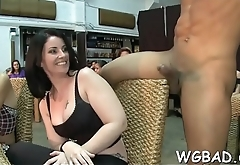 Excited chicks are dying to engulf hunk'_s black male rod