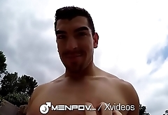MenPOV Muscle guys fuck outdoors by the pool