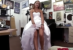 Beautiful and horny bride fucks in hammer away office in doggystyle