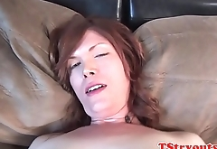 Tugging casting tgirl strokes her dick