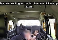 Amateur in boots fucks in fake taxi