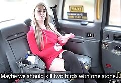 Super hot blonde masturbates in fake taxi