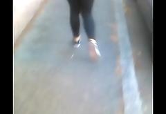 Hot teen upon nice ass walking