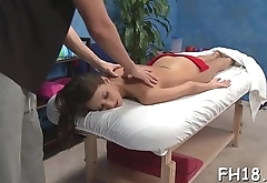 Pretty 18 year old gal gets a massage and a a lot more from her massage therapist, jake!