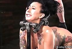 Exposed ass brunette in bondage whipped