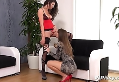 Lesbian Piss Drinking - Naughty European babes share their golden nectar