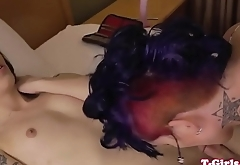 Spanked tgirl plows her girlfriends asshole