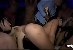 Bunch of harlots hungry for jizz fuck hung men at a party