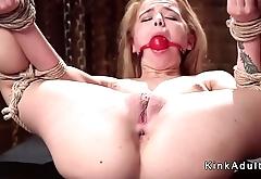 Deep throat blonde gets slave training