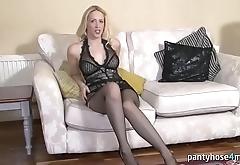Hot Blonde in Pantyhose Is Masturbating