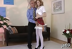 Juvenile amateur cutie can'_t live without getting fucked by an old guy