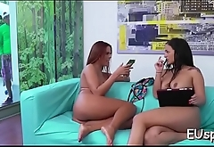 Hawt party babe sucks big one-eyed monster and rides it abysm in her ass
