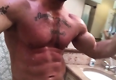 Hung muscle stud bathroom fun
