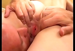 Blonde asking him to lick it harder