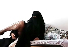 French arab muslim MILF in hijab anal with dildo