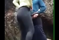 Fucking step sister out door