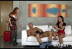 Mature chick teaches hot gratifying during wild 3some