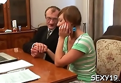 Aged teacher is taking advantage of innocent hotty