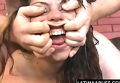 Extreme face fuck for pukey Latina