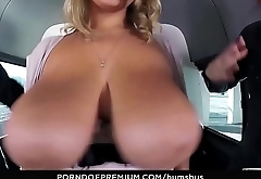 BUMS BUS - Naturally busty chick doggy style fuck fest in van