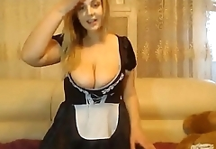 Busty BBW Maid Skipping Work Be fitting of Cam Whoring