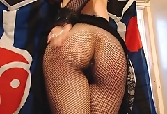 Goth Girl Self Spanks Her Ass until it Blushes Red through Fishnet Pantyhose