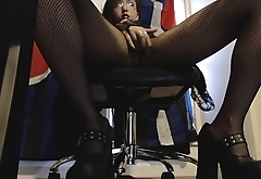Young Goth Plays with Herself Under Desk in Fishnet Pantyhose and Heels