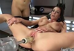 Machine lesbian milfs dildoing pussies