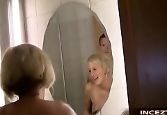 Mom son anal in the shower