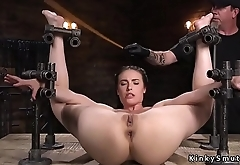 Exposed ass slave fucks with dildo