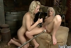 Strapon fucked babe pleasured with sybian