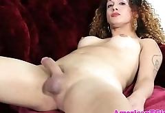 Masturbating trans babe toying her asshole