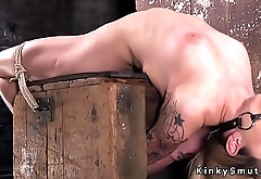 Back arch hogtied blonde whipped